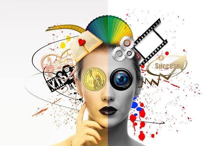 Eine Frau, die auf der linken Seite farbig ist, auf der rechten Seite sw. Weitere Elemente: Farbklekse, Musiknoten, Filmstreifen, einen Pfeil der nach oben geht und mit