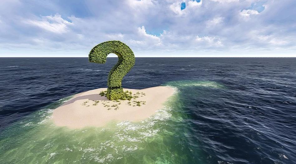 Ein Fragezeichen auf einer Insel in Form eines Baumes.